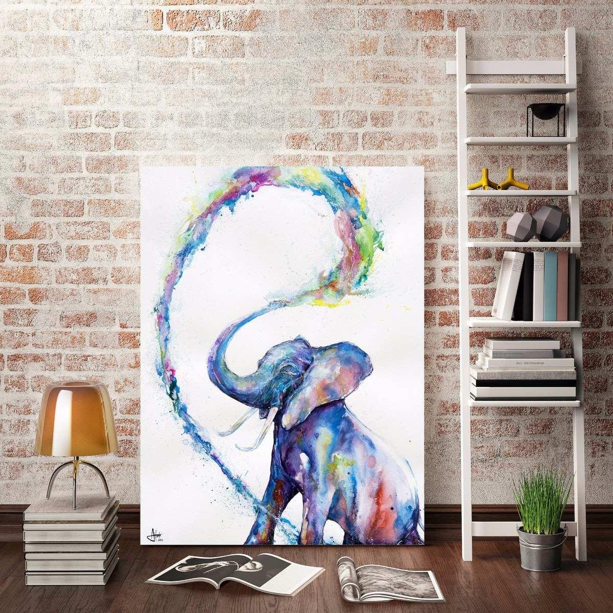 Cuadro elefante acuarela abstracto colores en lienzo for Tipos de arboles decorativos