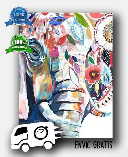 cuadro elefante animales 120x70 otros diseños tela canvas