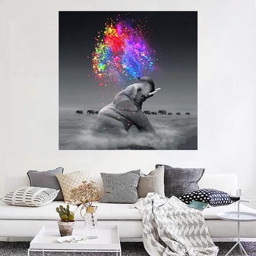 cuadro elefante colores moderno en lienzo canvas envío gratis tintas ecológicas no sintético opcional marco