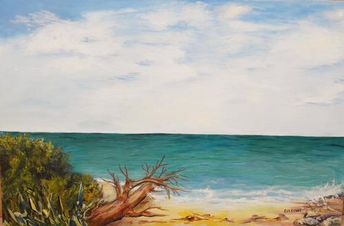 cuadro en acrilico 90x60 aguas turquesa artista eva frank