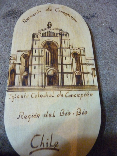 cuadro en madera, catedral de concepciòn chile