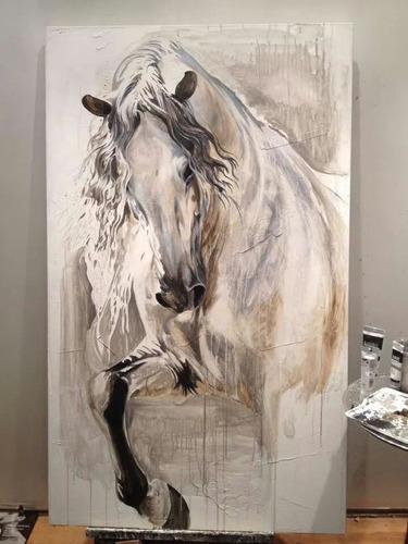 cuadro en oleo caballos para sala comedor alcoba habitación