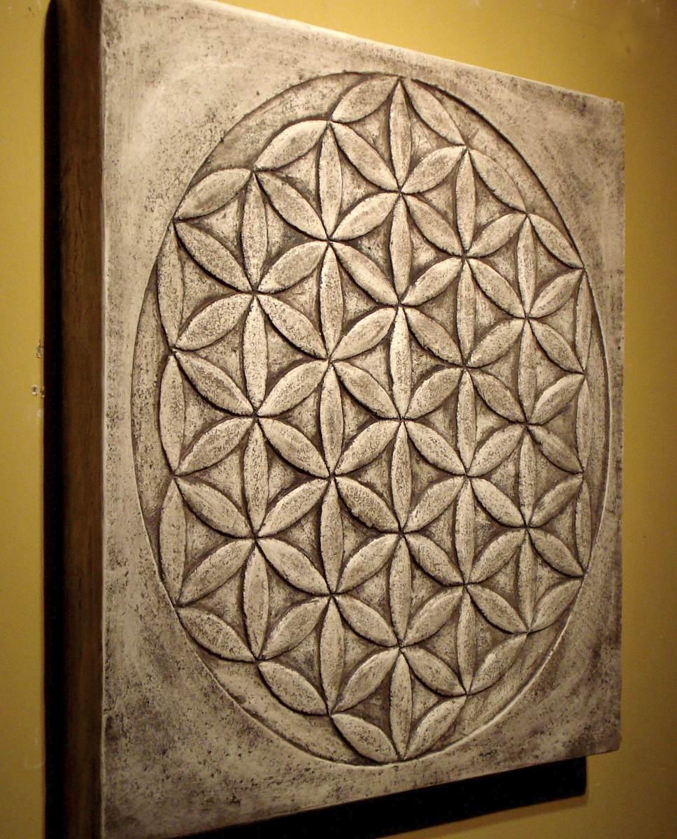 cuadro en relieve flor de la vida de x cm tallado