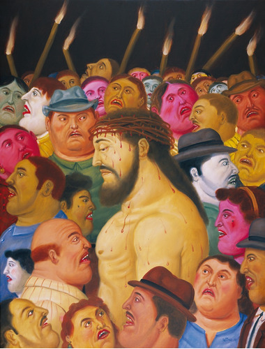 cuadro en tela, pasión de cristo botero