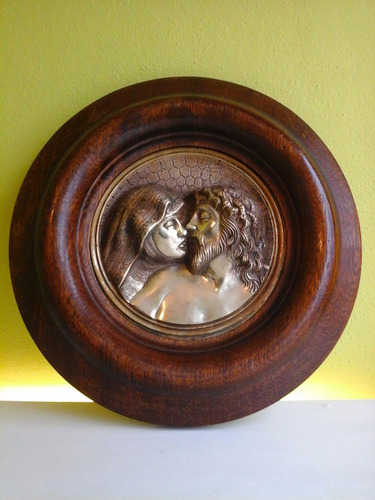 cuadro escultura madera roble  cristo virgen bronce antiguo