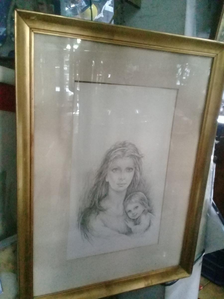 Cuadro Firmado Motivo Madre E Hija, Arte, Marco, Pintura, Ar ...