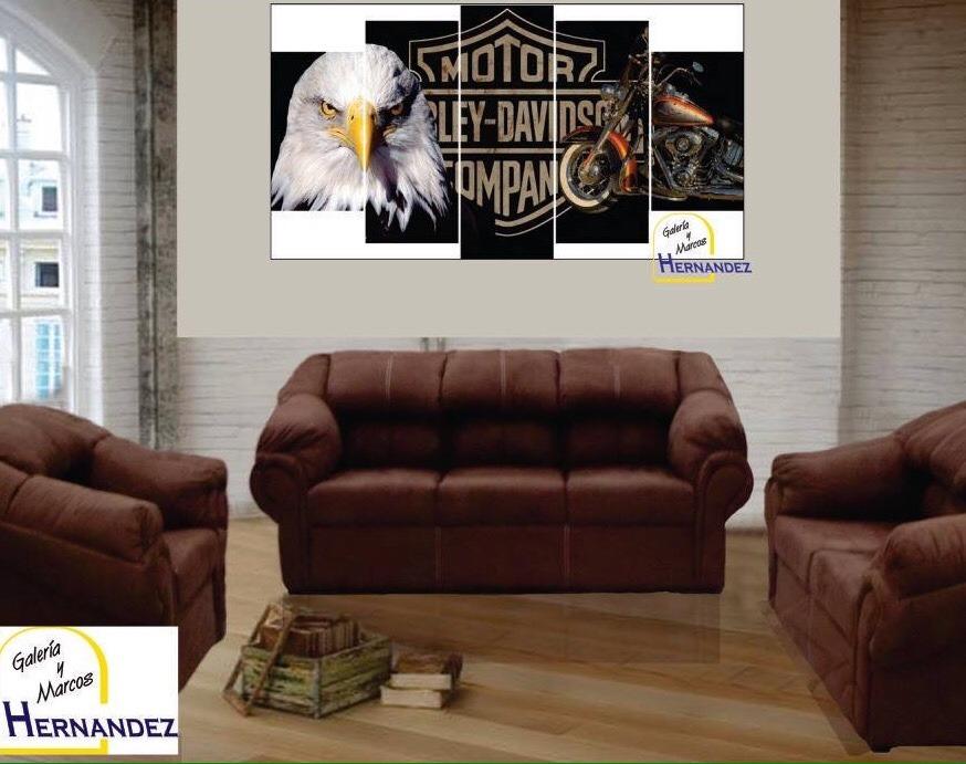 Cuadro Fragmentado Triptico Harley Davidson - $ 1,300.00 en Mercado ...