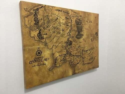 cuadro gigante el señor de los anillos cuerina 110x80 cm
