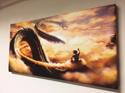 cuadro gigante goku y shenlong 110x60 cm en cuerina