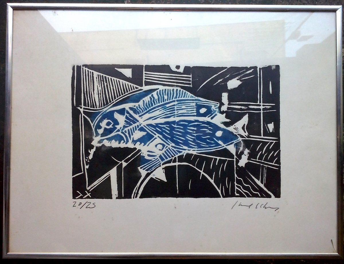 Cuadro Grabado Abstracto Peces Marco Plateado Firmado - $ 2.400,00 ...