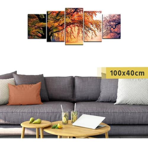 cuadro grande políptico de madera árbol otoño paisaje deco
