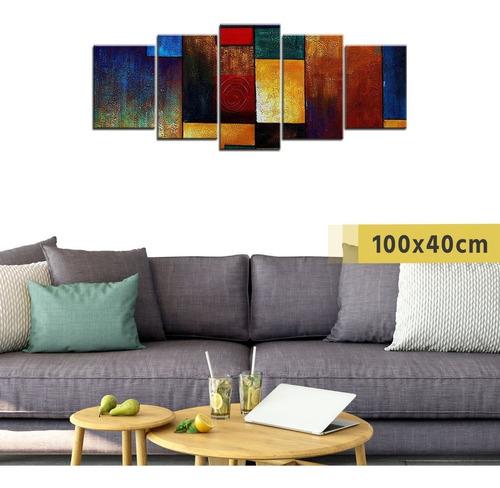 cuadro grande políptico madera arte abstracto decorativo