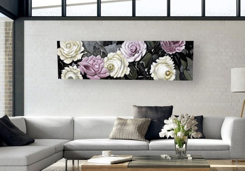 cuadro hecho a mano flores al óleo