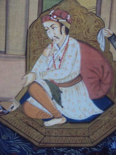 cuadro hindú pintado a mano sobre seda (907)