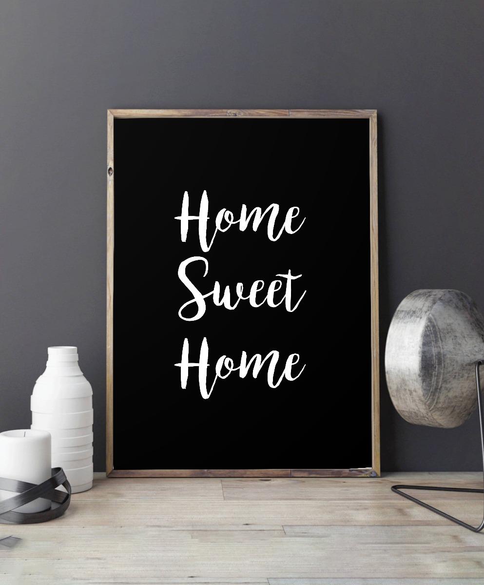 Cuadro Home Sweet Home Fondo Negro 20x30 Marco Chato Blanco - $ 410 ...