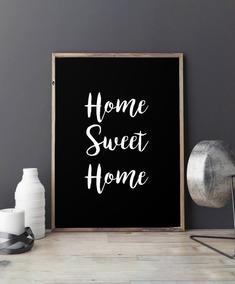 Cuadro Home Sweet Home Fondo Negro 20x30 Marco Chato Blanco