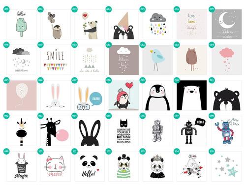 cuadro infantil. box 20x20. dibujo panda