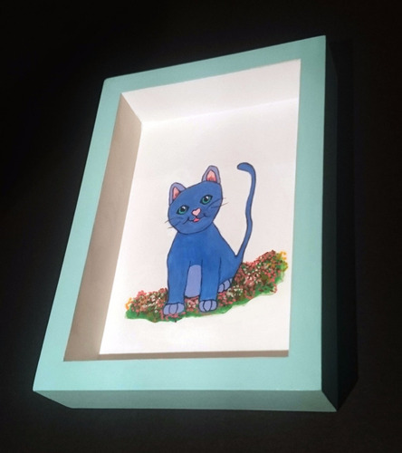 cuadro infantil de diseño original pintado a mano: gato azul