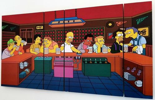 cuadro los simpsons bar de moe poliptico la ultima cena