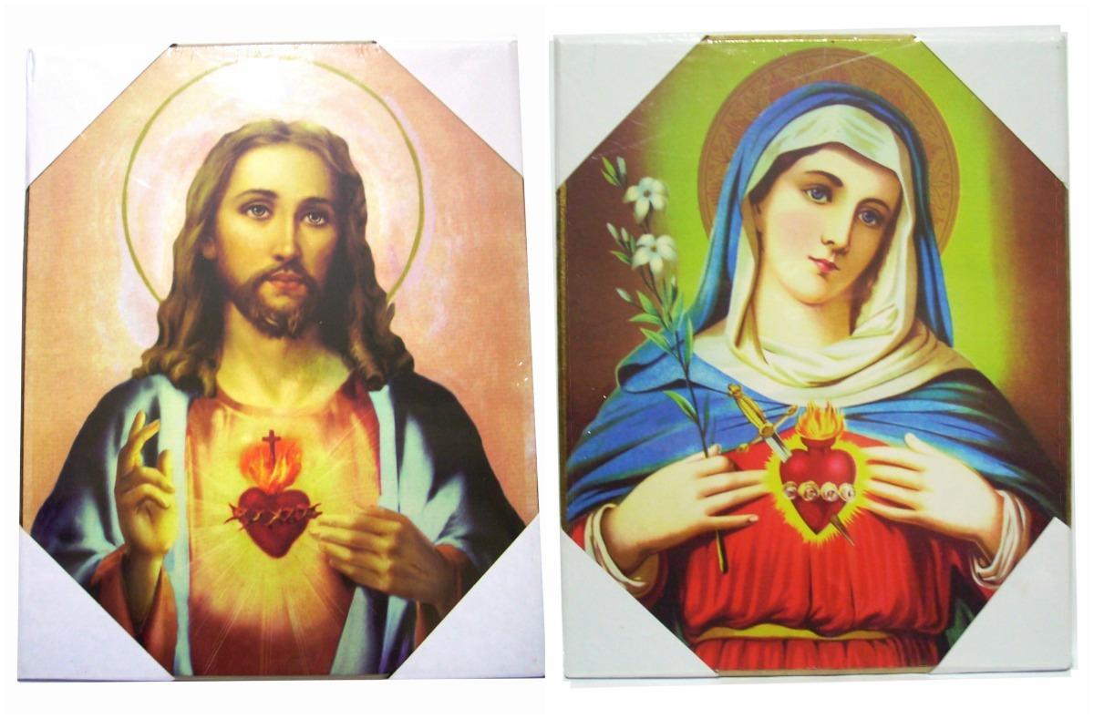 Cuadro Madera Rústico Sagrado Corazón Jesús Virgen María 465