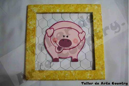 cuadro malla cerdo arte country