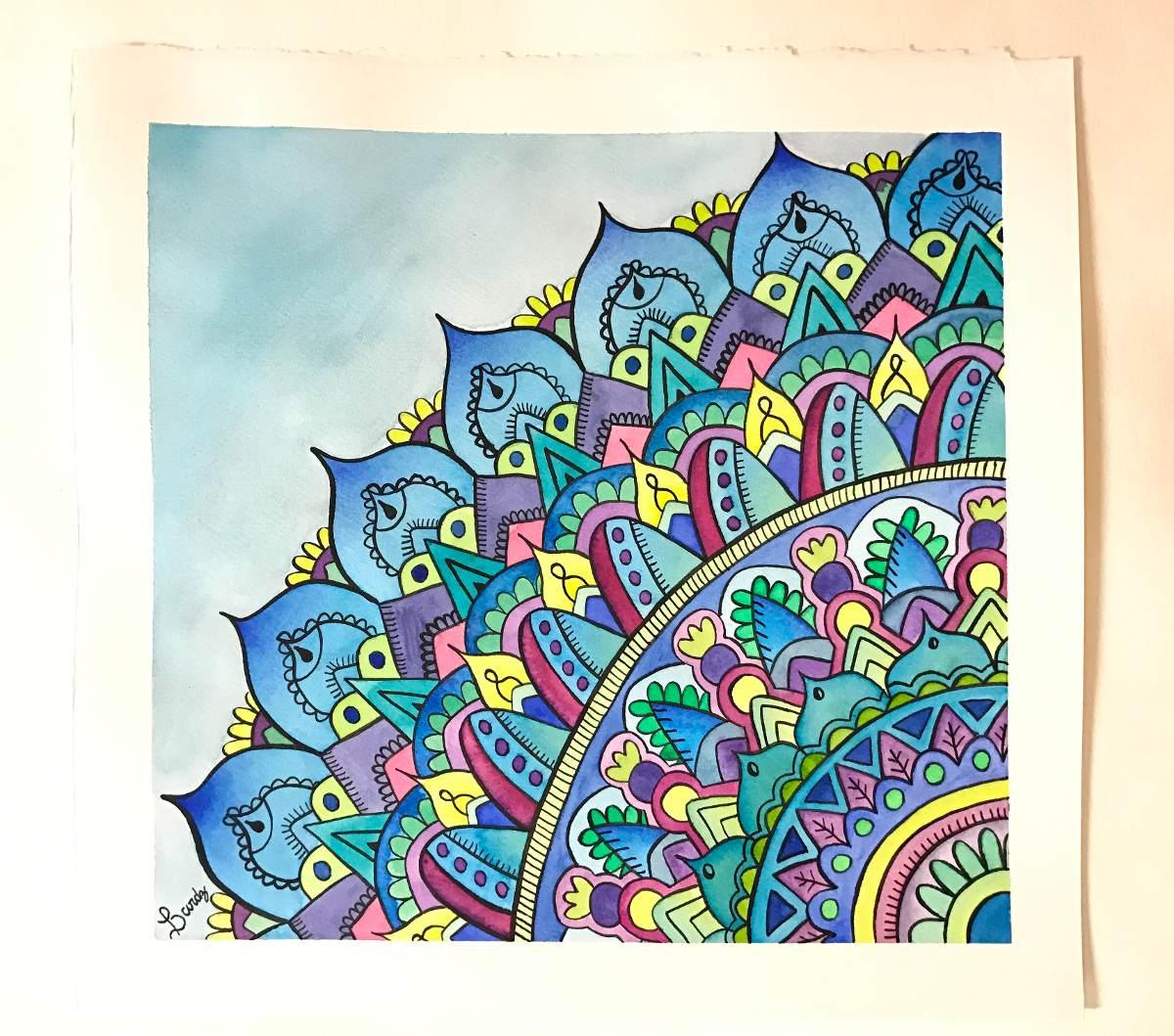 Cuadro Mandala Acuarela Decoracion Pintura 35000 En Mercado Libre - Pinturas-de-mandalas