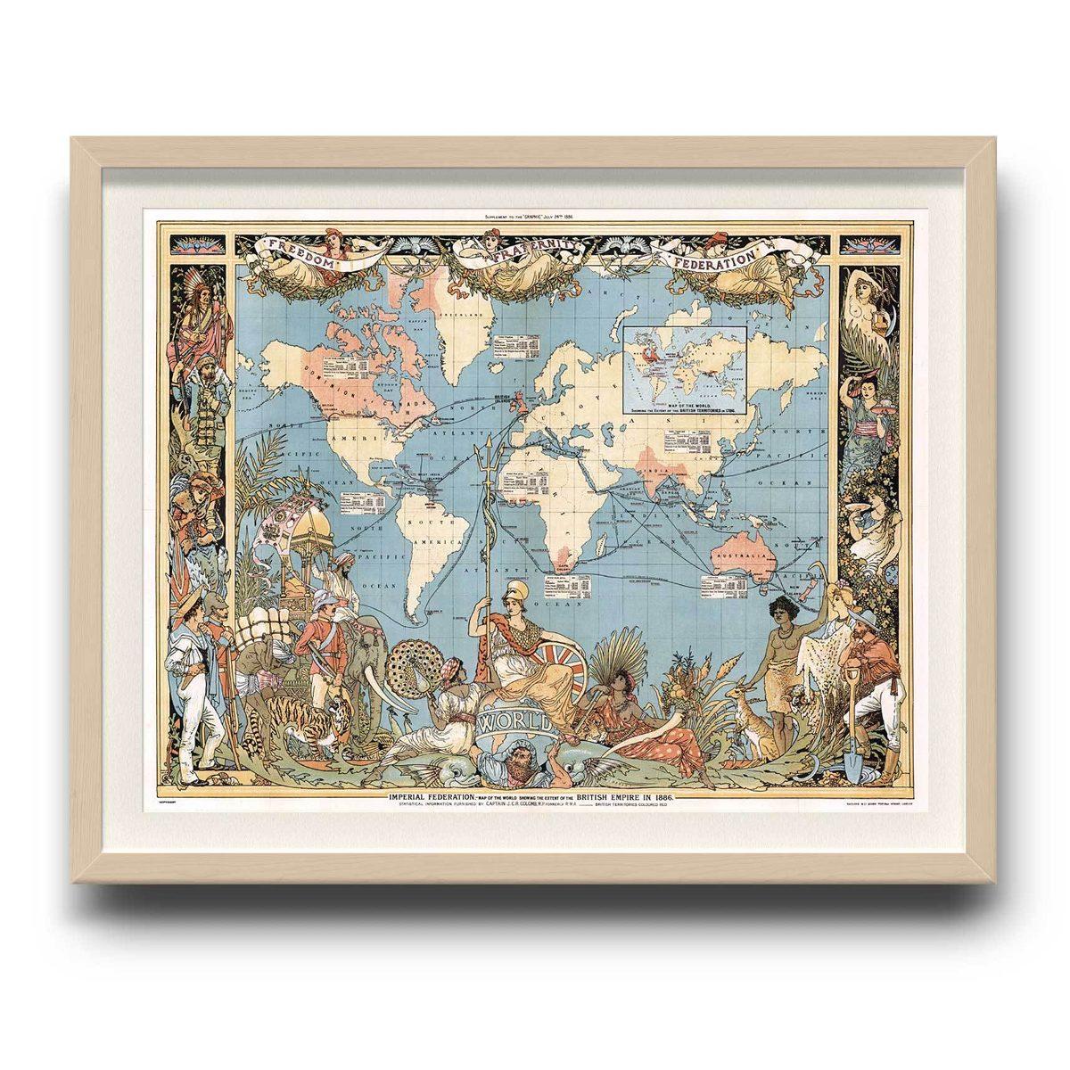 Cuadro Mapa Mundi De 1886 - Enmarcado Mappin - $ 70.000 en Mercado Libre