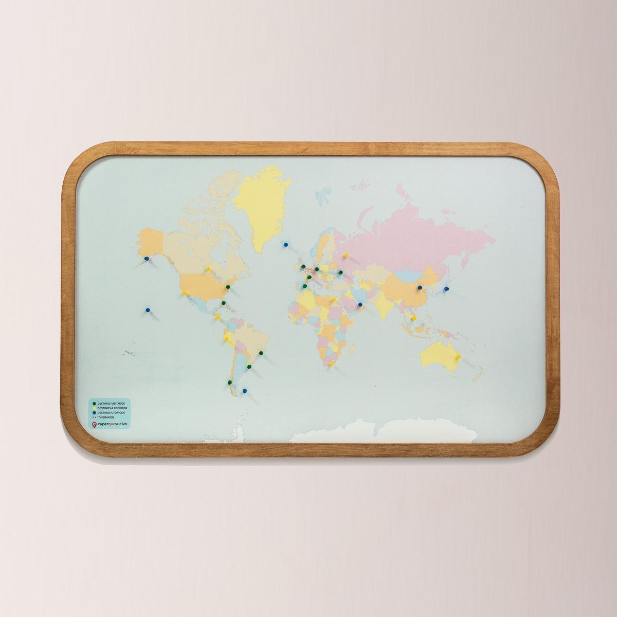 Mapa Para Marcar Viajes.Cuadro Mapa Planisferio Para Marcar Lugares Visitados 106x67