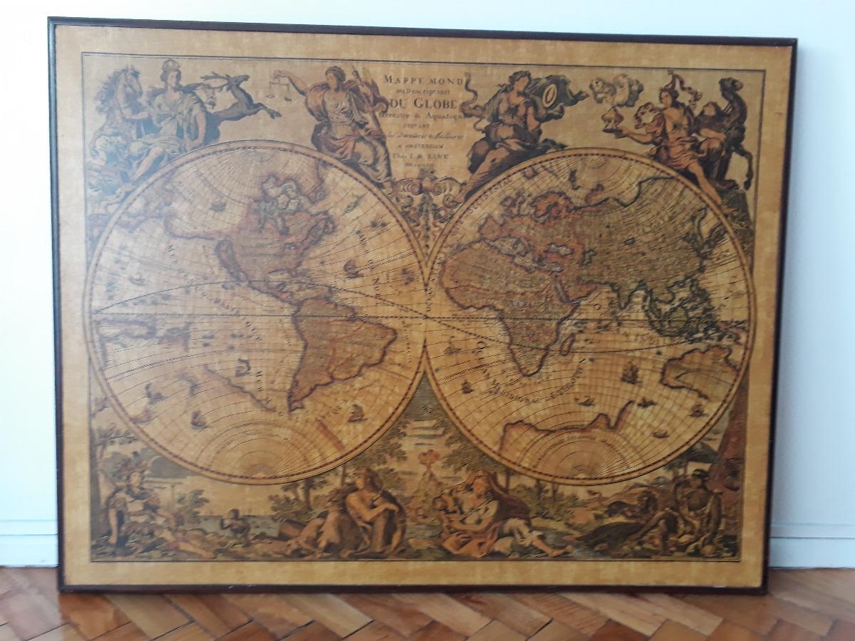 Cuadro Mapa Vintage Retro - $ 1.200,00 en Mercado Libre
