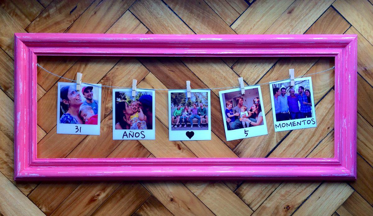 Cuadro Marco 5 Fotos Polaroid Regalo Novia Novio Aniversario - $ 710 ...