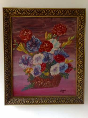 Cuadro marco antiguo pintura al oleo cesta con flores bs for Marco cuadro antiguo