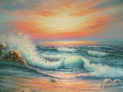 cuadro marina oleos sobre tela con bastidor  50 x 60 cm