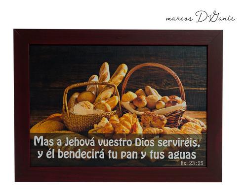 cuadro minimalista con texto bíblico, 28x40 cm.