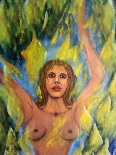 cuadro moderno al óleo mujer en llama triple