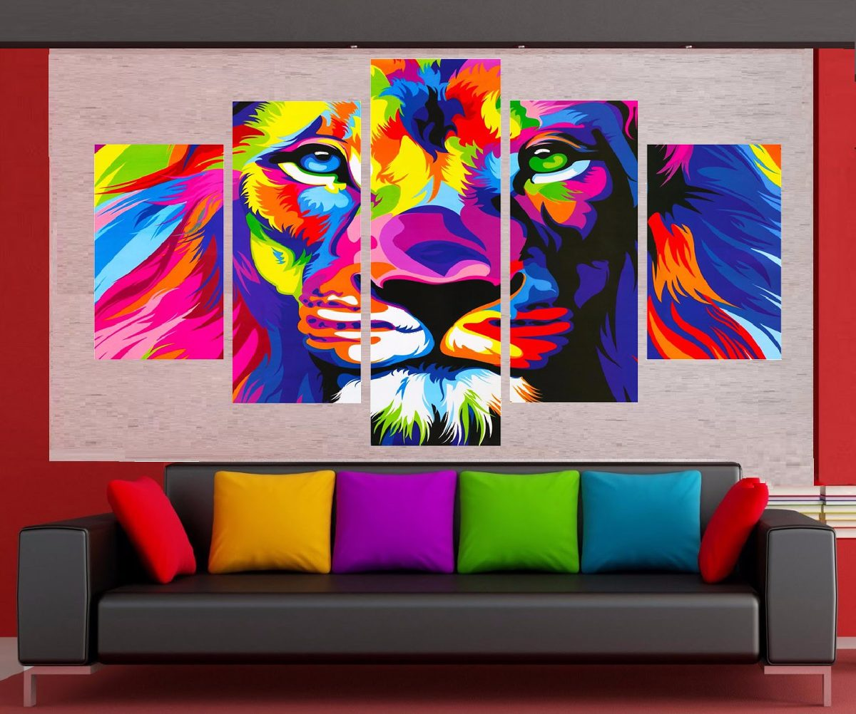 Cuadro moderno decorativo sala leon color listos para for Comprar cuadros modernos online