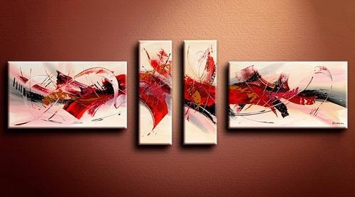 cuadro modernos tripticos 4 paños en lienzo al oleo. oferta!