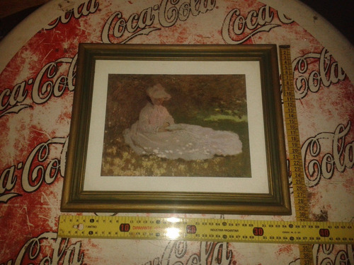 cuadro mujer lamina, marco frances de madera