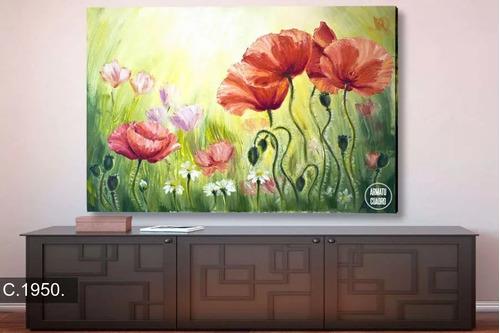 cuadro mural flores decorativo 60*90cms lienzo
