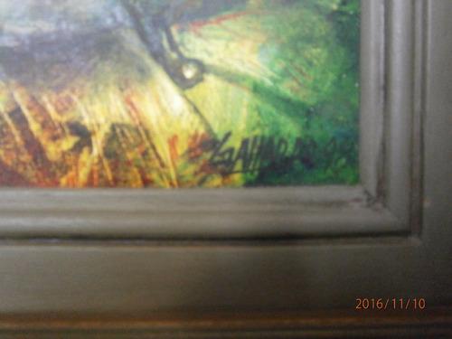 cuadro oleo bodegón  olla plateada y fruta  firmado
