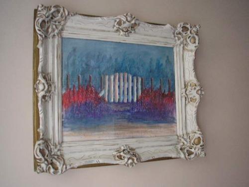 cuadro oleo con marco frances antiguo 40 x 30 cm