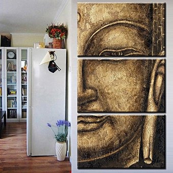 Cuadro leo digital rostro de buda 3pcs sin marco 40x60 - Cuadros sin marco ...