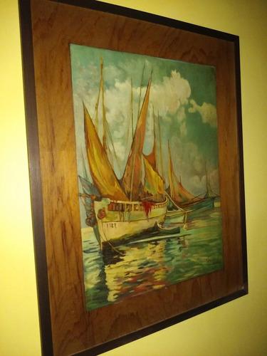 cuadro oleo en madera- barcos retrato en tecnica pirograbado