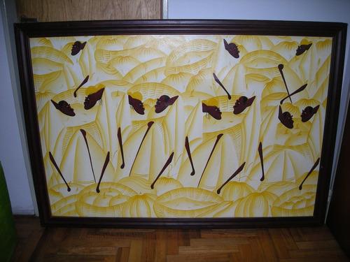 cuadro óleo figuras africanas