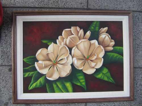 cuadro oleo flores magnolia enmarcado filippo firma original