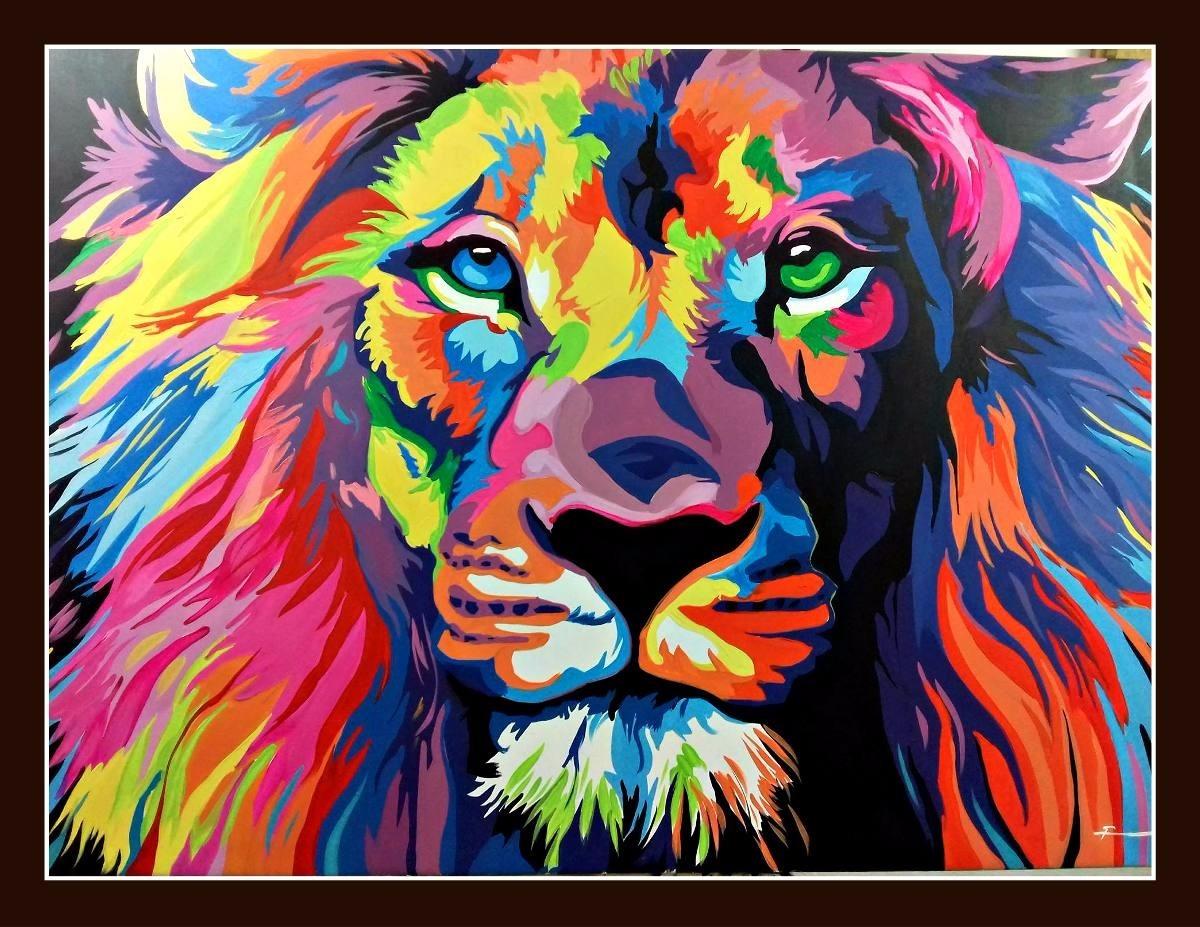 Cuadro oleo leon pop art arte por pedido - Cuadros pop art comic ...