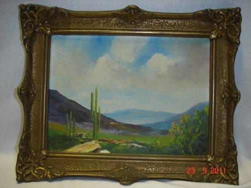 cuadro oleo motivo paisaje norteño firmado marco frances b