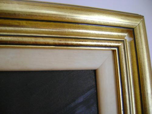 cuadro oleo naturaleza enmarcado dorado 56 x 45 cm