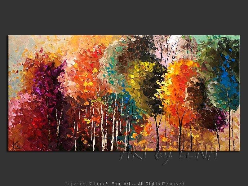Cuadro oleo o acrilico bosques modernos en for Imagenes de cuadros abstractos rusticos
