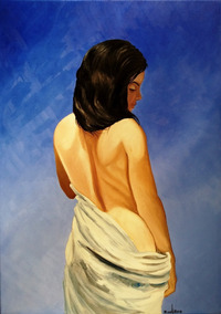 Cuadro óleo Retrato Desnudo Mujer Joven 60x84 Cm