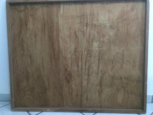 cuadro oleos, pintura industrial sobre madera y yeso